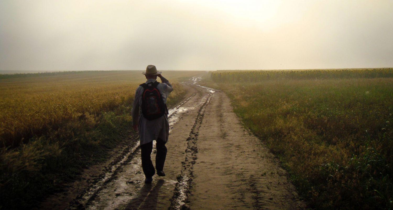 Mann beim Spaziergang auf einem Feldweg